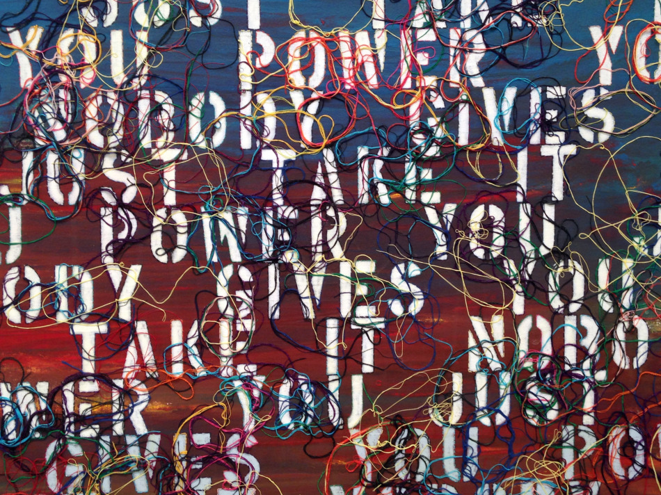 "Detail of Sunset with Words - RFGA, 2013, acrylic, embroidery and gel medium on canvas, 48""x50"""