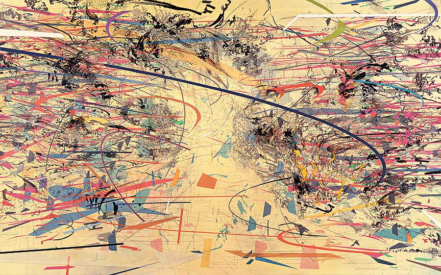 "Julie Mehretu. ""Dispersion,"" 2002. Ink and acrylic on canvas"
